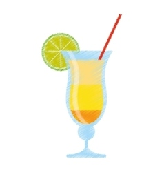 Drawing cocktail drink alcohol brazil vector