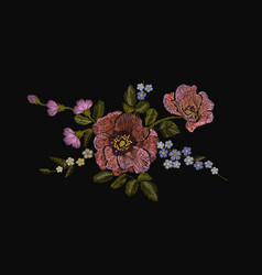 embroidery colorful floral pattern with poppy and vector image vector image