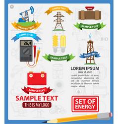 energetics logos with ribbon energetics vector image vector image