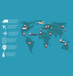 global network of commercial cargo transportation vector image