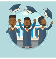 Graduates throwing up hats vector