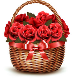 Holiday Background With Basket Full Of Red Roses vector image vector image