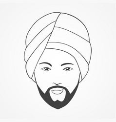 Line art of an indian man vector