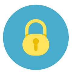 lock icon on round blue background vector image vector image