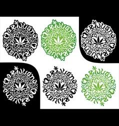 marijuana cannabis leaf symbol textured stamps vector image vector image