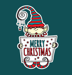 Merry christmas elf holding sign vector