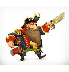 Pirate funny character icon mesh vector image