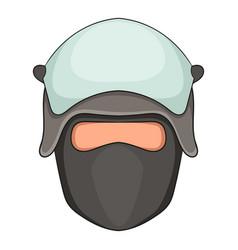 Policeman head in a face mask icon cartoon style vector