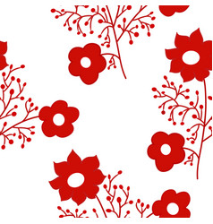Red flowers seamless pattern vector