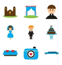 Set of flat web icons on white background wedding vector image vector image