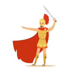Spartan warrior character in golden armor and red vector