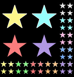 star white star collection with colored stripes vector image vector image