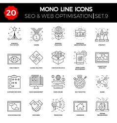 Thin Line Icons Set of Search Engine Optimization vector image vector image