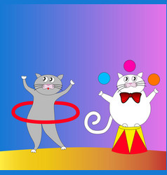 two cartoon cats performing in the circus vector image