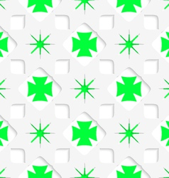 White stars with green inner parts seamless vector