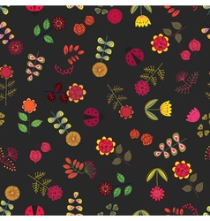 Yellow seamless pattern with flowers vector image vector image
