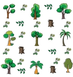 Doodle of tree collection stock vector image