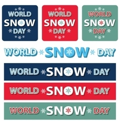 World snow day title setbannerposter vector