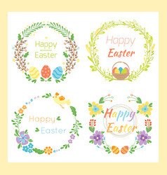 Happy easter hand drawn badge with hand lettering vector