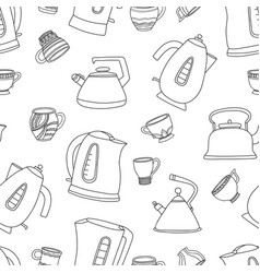 Seamless pattern with cups of tea and vector
