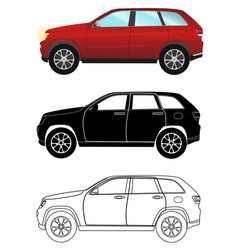 Group of different kind terrain vehicles red vector