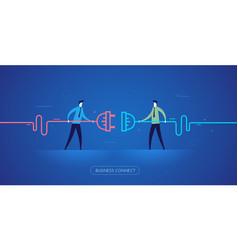 Businessmen connect connectors vector