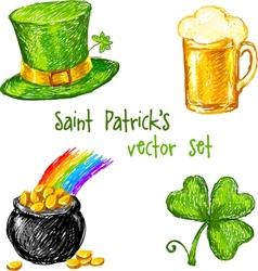 Sketch Saint Patrick day set vector image