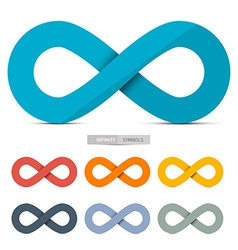 Colorful Paper Infinity Symbols Set Isolated on vector image
