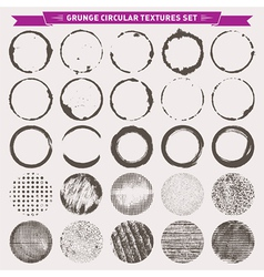 Grunge circular textures backgrounds frames vector