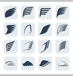 Wings icon set vector
