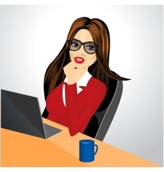 Businesswoman with laptop vector