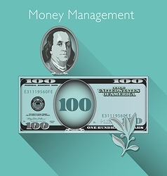 100 Dollar with Shadow vector image