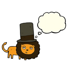 Cartoon lion in top hat with thought bubble vector
