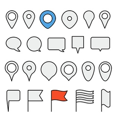 Navigation pins collection minimalism vector