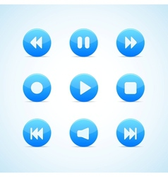 Set of round blue media player buttons vector