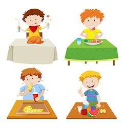 Boys eating at dining table vector