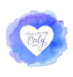 Blue watercolor painted stain with heart shape vector
