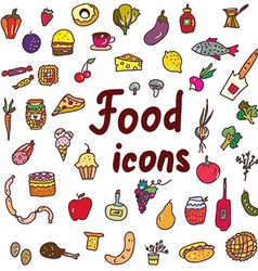 Food icons set - hand drawn design vector