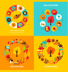 autumn concept set vector image vector image