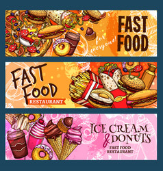 Banners set for fast food restaurant vector