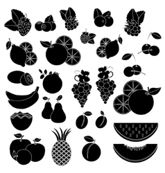 Black white vcetor icons - fruits and berries vector image