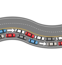Cars travel traffic go one direction vector image vector image