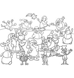 Christmas characters group coloring book vector