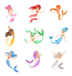 Cute fairy tale mermaid princess with colorful vector