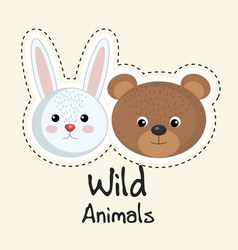 Cute wild animals sticker leaves fall vector