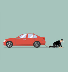 desperate businessman with car debt burden vector image