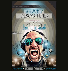 Disco Night Club Flyer layout with DJ shape and vector image