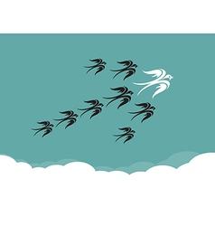 Flock of birdsswallow flying in the sky vector