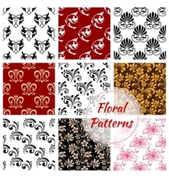 Floral seamless pattern with flower and leaf vector