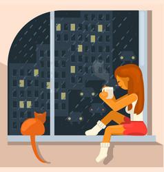 girl sits on the windowsill vector image vector image